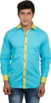 Nauhwar Men's Solid Casual Yellow Shirt