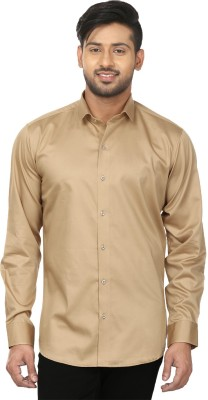 Louis Martin Men's Solid Casual, Formal Gold Shirt