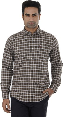 London Fog Men,s Checkered Casual Brown Shirt