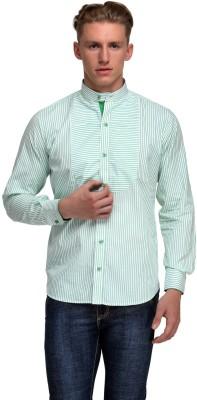 99 Hunts Men's Striped Casual Green, White Shirt