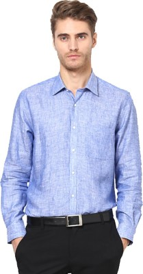 Ethiculture Men,s Solid Formal Linen Light Blue Shirt