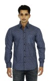 Binnote Men's Printed Casual Blue Shirt
