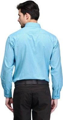 Club Morocco Men's Checkered Formal Light Blue Shirt