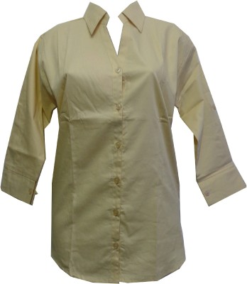 fashion point Women's Solid Formal Brown Shirt