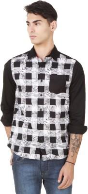 4 Stripes Men's Printed Casual Black Shirt