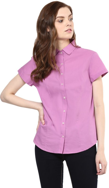 COBB Women's Solid Casual Pink Shirt