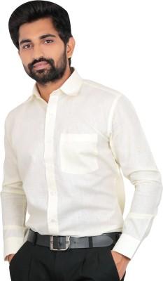 Caris Men's Solid Formal White Shirt