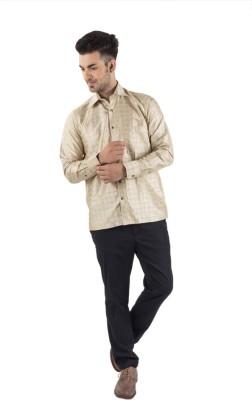 Scot Wilson Men's Checkered Casual Beige Shirt