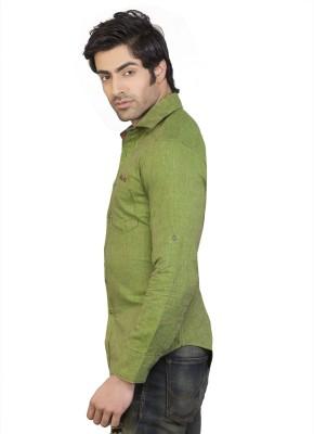 Eden Elliot Men's Solid Casual Linen Green Shirt