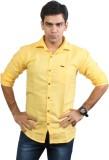 Basil Men's Solid Casual Yellow Shirt