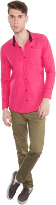 Nine Club Men's Solid Casual Pink Shirt