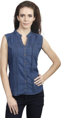 Shopdayz Women's Solid Casual Denim Dark Blue Shirt