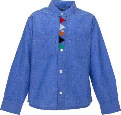A Little Fable Boy's Solid Party Blue Shirt