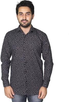 Mangue Men's Floral Print Casual Black Shirt