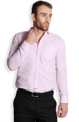 SOLEMIO Men's Solid Formal, Casual Pink Shirt