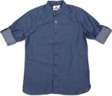 WROGN Boys Self Design Casual Blue Shirt