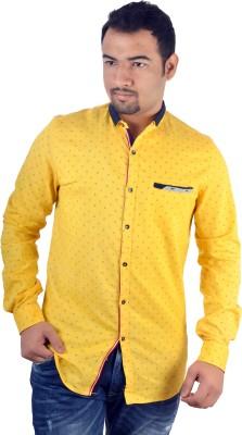 MTN Men's Printed Casual Yellow Shirt