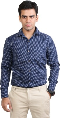 Basil Men's Printed Casual Blue Shirt