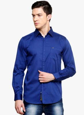 Erza Men's Solid Casual Dark Blue Shirt