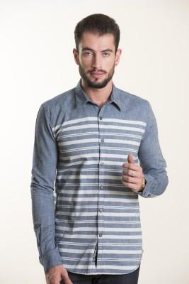 Kart & Kriss Men's Striped Casual Grey Shirt