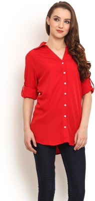 Trend Arrest Women's Solid Casual Red Shirt