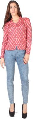 Jappshop Women's Printed Casual Maroon Shirt