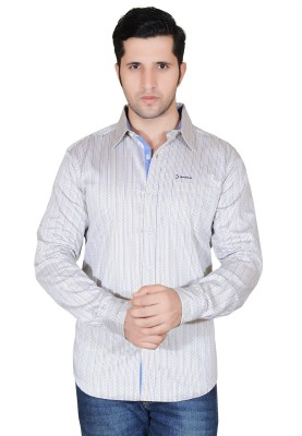 Denimize Men's Striped Casual Yellow Shirt
