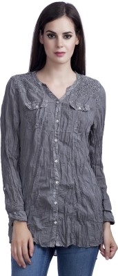 MansiCollections Women's Solid Casual Grey Shirt