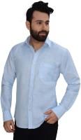 Big Brother Formal Shirts (Men's) - Big Brother Men's Solid Formal Linen Blue Shirt