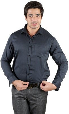 Edinwolf Men's Solid Formal Dark Blue Shirt