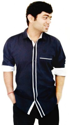 Hd Rascals Men's Solid Casual Blue Shirt