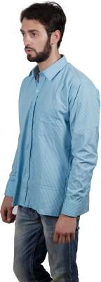 FDS Men's Striped Formal Blue Shirt