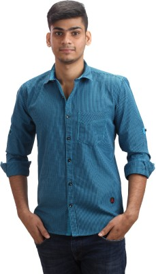 Fashion Bean Men's Checkered Casual Blue Shirt
