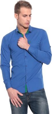 Pazel Men's Solid Casual Blue Shirt