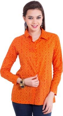 Tuntuk Women's Floral Print Casual Orange Shirt