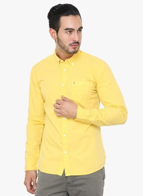 Erza Men's Solid Casual Yellow Shirt