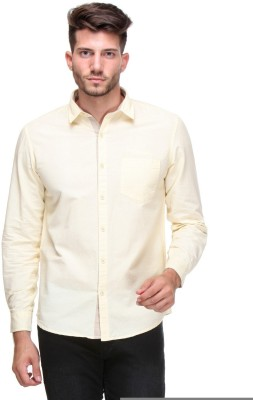 Scapes Men's Solid Casual Yellow Shirt