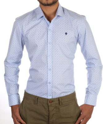 FORTY ONE FITZROY Men's Polka Print Casual Light Blue Shirt