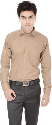 Kalrav Men's Solid Casual, Formal, Party, Wedding Beige Shirt