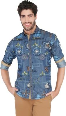 ROYALION Men's Printed Casual Blue Shirt