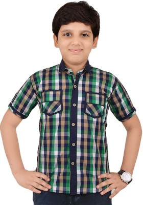 Little Dabang Boy's Checkered Casual Blue Shirt