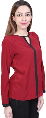 Urban Religion Women's Self Design Casual Red Shirt