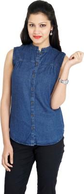 Franclo Women's Solid Casual Denim Dark Blue Shirt