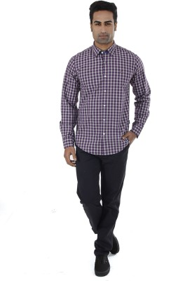 London Fog Men,s Checkered Casual Purple Shirt