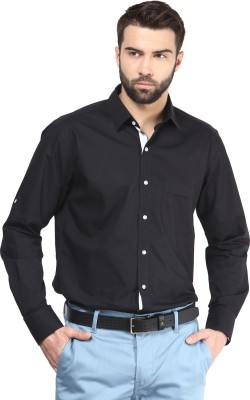 FUNK Men's Solid Casual Black Shirt