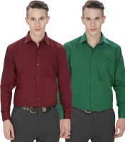 Jss Fashions Formal Shirts (Men's) - Jss Fashions Men's Solid Formal Maroon, Green Shirt(Pack of 2)