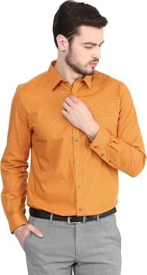 London Bridge Men's Printed Formal Yellow Shirt