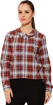 Feneto Women's Checkered Casual Multicolor Shirt