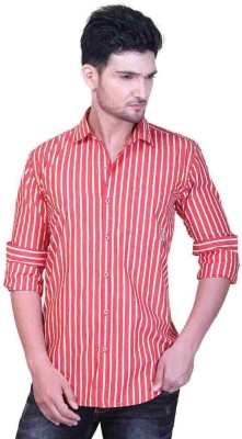 GoPlay Men's Striped Casual Red Shirt