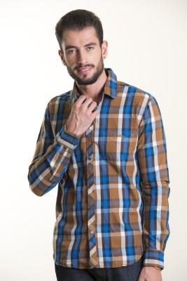Kart & Kriss Men's Checkered Casual Brown, Blue Shirt